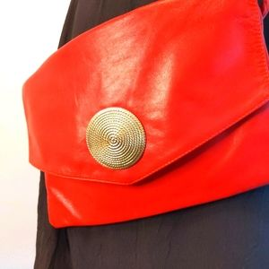 Vintage Canadian Made Leather Red Purse